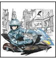 Young sexy fashion woman sitting on motorcycle vector image vector image