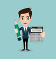 accountant with a calculator and pencil vector image vector image