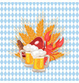 beer and snacks at octoberfest vector image vector image