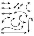 black arrows set set of icons vector image vector image