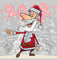 cartoon funny santa claus laughs pointing vector image vector image