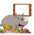 Cartoon rhino with blank board for you design vector image vector image