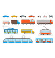 cartoon urban transport icons set vector image
