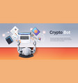 crypto currency trading bot block chain concept vector image vector image
