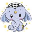 cute blue elephant isolated on a white background vector image vector image