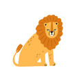 cute funny lion with thick mane isolated on white vector image vector image