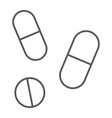 drugs thin line icon pharmacy and medicine pills vector image vector image