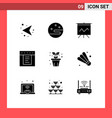 editable line pack 9 simple solid glyphs of vector image vector image