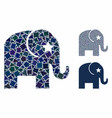 elephant mosaic icon unequal parts vector image vector image