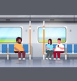 fat obese people inside subway metro train vector image vector image