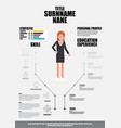 flat resume with infographics resume vector image vector image