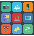 Flat travel or vacation icon set vector image vector image