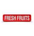 fresh fruits red 3d square button isolated on vector image vector image