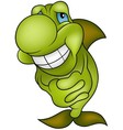 Green Smiling Fish vector image vector image