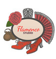 hand drawn flamenco template vector image vector image