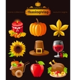 icon set with autumn and thanksgiving food vector image