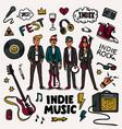 indie rock music set musicians vector image vector image