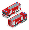 isometric red fire truck vehicle of emergency vector image vector image