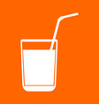 juice glass with drinking straw white icon vector image vector image