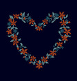 knitted background with heart frame vector image