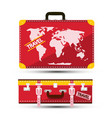 luggage with world map red traveling suitcase vector image