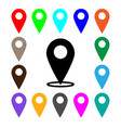map pointer icon set gps location symbol flat vector image vector image