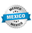Mexico round silver badge with blue ribbon vector image vector image