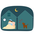 neighbor dog barking loudly at night cartoon vector image vector image