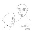 one line fashion female face vector image