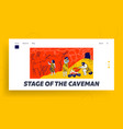 primitive people caveman family living in cave vector image