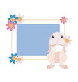 rabbit flowers label easter vector image vector image
