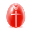 red egg with a cross and dove vector image vector image