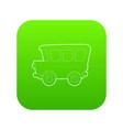 school bus icon green vector image vector image