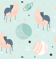 seamless childish pattern with cats on moons and vector image vector image
