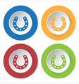 set of four icons - horseshoe with holes vector image
