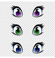 set of manga anime style eyes in green blue and vector image vector image