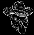 silhouette dog in a cowboy hat vector image