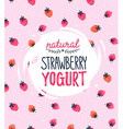 Strawberry Yogurt logo on the strawberry vector image vector image