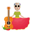 traditional katrina with guitar and chilli peper vector image vector image