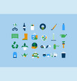 upcycling diy recycle object flat cartoon icon set vector image