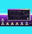 vaporwave 80s interface screen retro terminal vector image vector image
