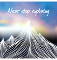 with hand drawn doodle mountains and blured vector image vector image