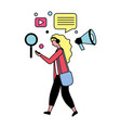 woman with social media icons vector image vector image