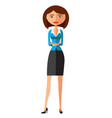 young cartoon banker lady with crossed arms vector image