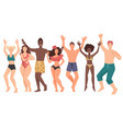 young people wearing swimming suits having fun vector image