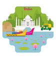 india travel and attraction landmarks vector image
