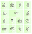 14 grow icons vector image vector image