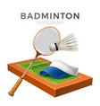 3d badminton shuttlecock white mock up vector image vector image