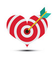 arrow in heart shaped dart board bullseye love vector image vector image