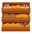bakery shop assortment with bread and cakes set vector image